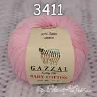 Пряжа Gazzal Baby Cotton, светло-розовый цвет 3411