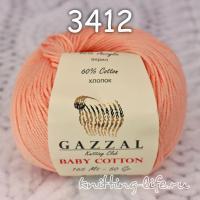 Пряжа Gazzal Baby Cotton, персиковый цвет 3412