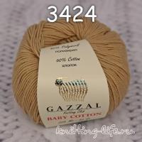 Пряжа Gazzal Baby Cotton, кофе с молоком цвет 3424