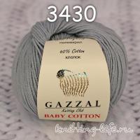 Пряжа Gazzal Baby Cotton, серебристо-серый цвет 3430