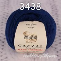 Пряжа Gazzal Baby Cotton, темно-синий цвет 3438