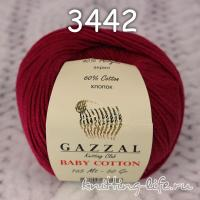 Пряжа Gazzal Baby Cotton, бордо цвет 3442