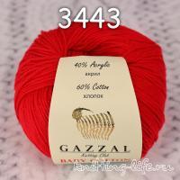 Пряжа Gazzal Baby Cotton, алый цвет 3443