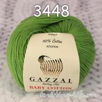 Пряжа Gazzal Baby Cotton, зеленый цвет 3448