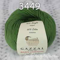 Пряжа Gazzal Baby Cotton, темно-зеленый цвет 3449