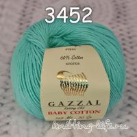 Пряжа Gazzal Baby Cotton, морская волна цвет 3452