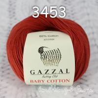 Пряжа Gazzal Baby Cotton, темный терракот цвет 3453