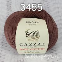 Пряжа Gazzal Baby Cotton, шоколад цвет 3455