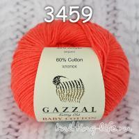Пряжа Gazzal Baby Cotton, ярко-оранжевый цвет 3459