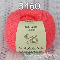 Пряжа Gazzal Baby Cotton, яркий коралл цвет 3460