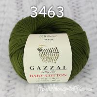 Пряжа Gazzal Baby Cotton, темно-оливковый цвет 3463