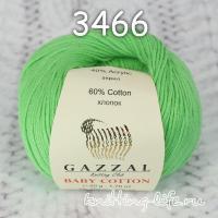 Пряжа Gazzal Baby Cotton, зеленая мята цвет 3466