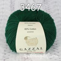 Пряжа Gazzal Baby Cotton, зеленка цвет 3467