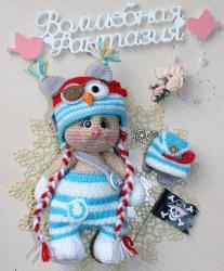 Кошечка Анфиса в костюмчике совенка-пиратика