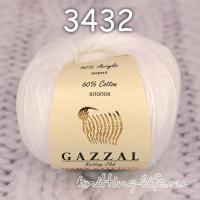 Пряжа Gazzal Baby Cotton, белый цвет 3432