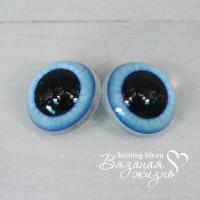 Живые глазки для игрушек (кукол), пара, цвет - голубой