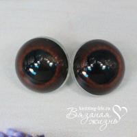Живые глазки для игрушек (кукол), одна пара, цвет - тёмно-коричневый