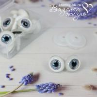 Живые глазки кукольные, одна пара, цвет серый
