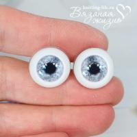 глазки для кукол живые серый цвет