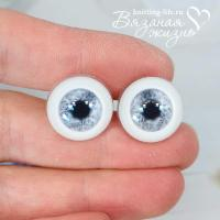 Живые глазки кукольные, одна пара, цвет серый. Вид спереди
