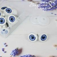 Живые глазки кукольные, одна пара, цвет синий