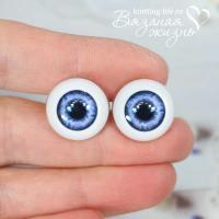 Живые глазки кукольные, одна пара, цвет синий. Вид спереди
