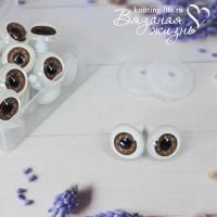 Живые глазки кукольные, одна пара, цвет карий