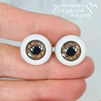 Живые глазки кукольные, одна пара, цвет карий. Вид спереди