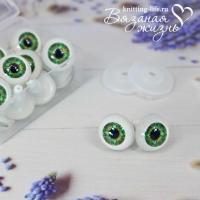 Живые глазки кукольные, одна пара, цвет зелёный