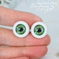 Живые глазки кукольные, одна пара, цвет зелёный. Вид спереди