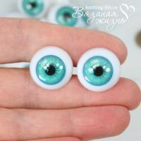 Кукольные глазки винтовые, одна пара, бирюза, сравнение размеров