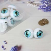 Кукольные глазки винтовые, одна пара, зелёно-голубой