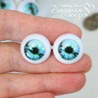 Кукольные глазки винтовые, одна пара, зелёно-голубой, сравнение размеров