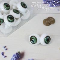 Кукольные глазки винтовые, одна пара, зелёный
